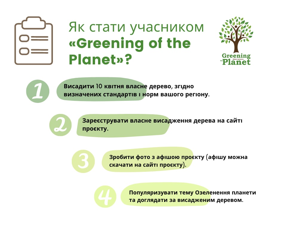 Як стати учасником Greening of the Planet